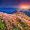 Colorful autumn sunrise in the Carpathian mountains. Pishkonya ridge, Ukraine, Europe.