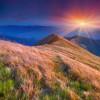 Colorful autumn sunrise in the Carpathian mountains. Pishkonya ridge, Ukraine, Europe.